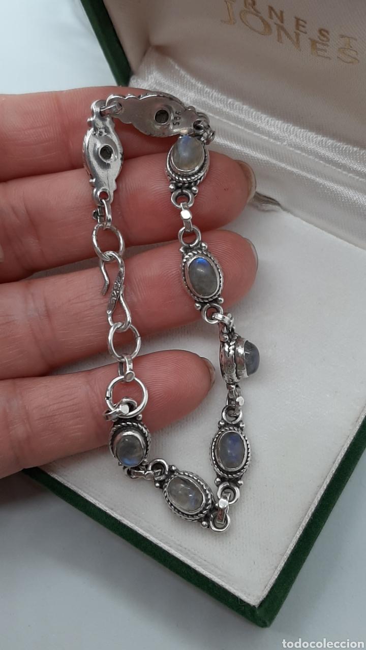 Joyeria: Pulsera vintage de plata 925 y piedra lunar, de 20 cm y 15.42 gr . Ver fotos y descripción. - Foto 5 - 236390425