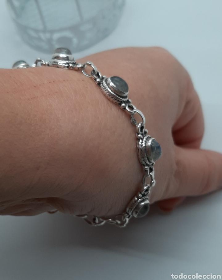 Joyeria: Pulsera vintage de plata 925 y piedra lunar, de 20 cm y 15.42 gr . Ver fotos y descripción. - Foto 6 - 236390425