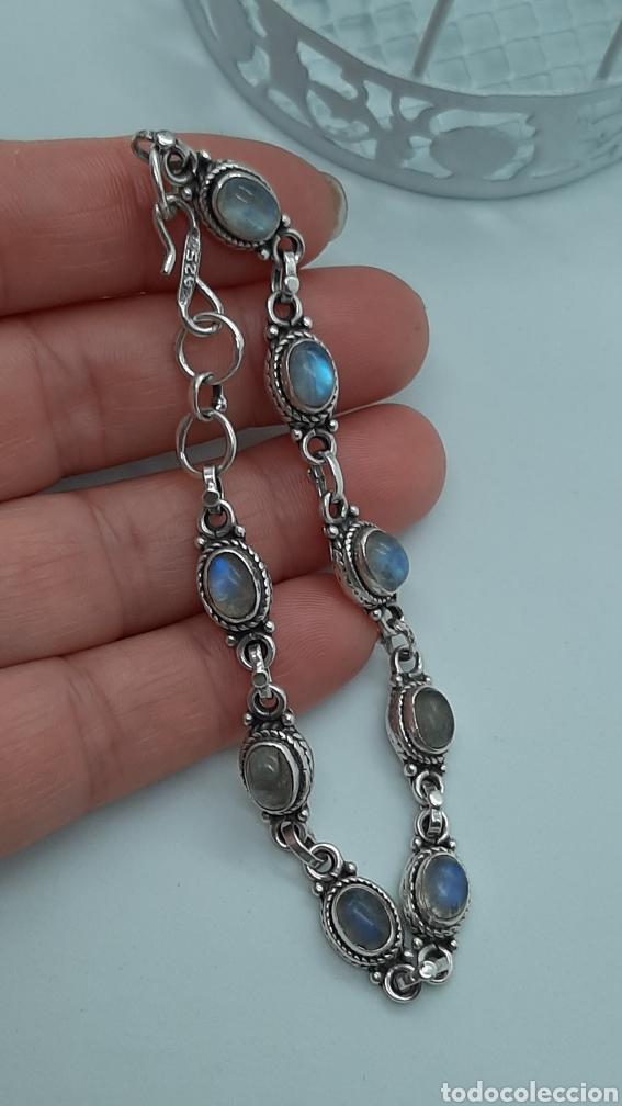 Joyeria: Pulsera vintage de plata 925 y piedra lunar, de 20 cm y 15.42 gr . Ver fotos y descripción. - Foto 7 - 236390425