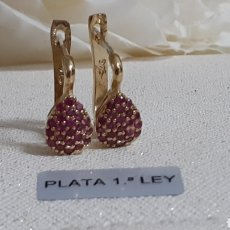 Joyeria: PENDIENTES DE PLATA Y RUBÍES NATURALES. Lote 236499875
