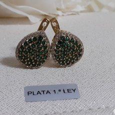 Joyeria: PENDIENTES DE PLATA CON ESMERALDAS NATURALES. Lote 236501080