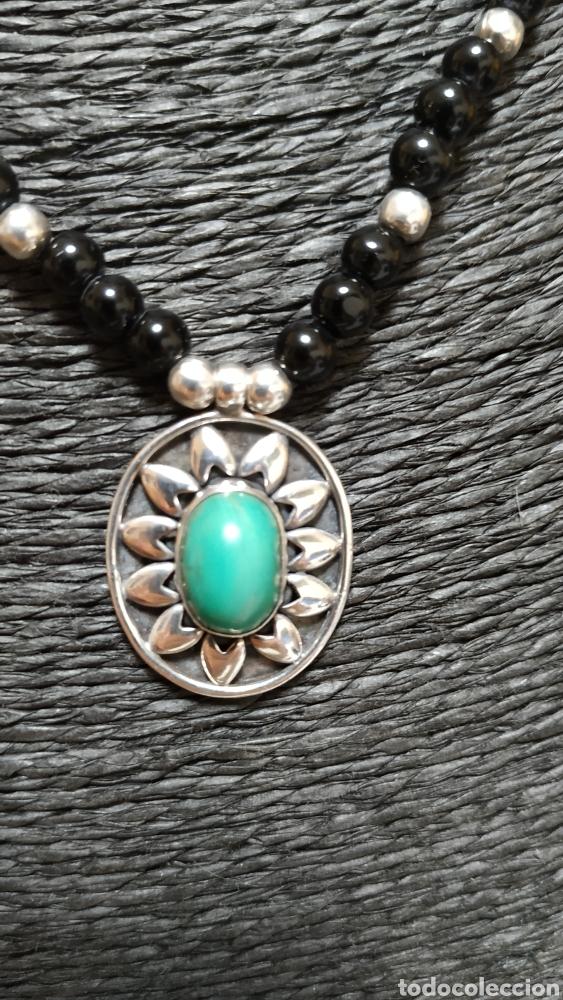 Joyeria: Preciosa Gargantilla de plata de ley Onix y turquesa - Foto 2 - 236914840