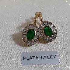 Joalheria: PENDIENTES DE PLATA ESMERALDAS Y TOPACIOS NATURALES. Lote 237824465