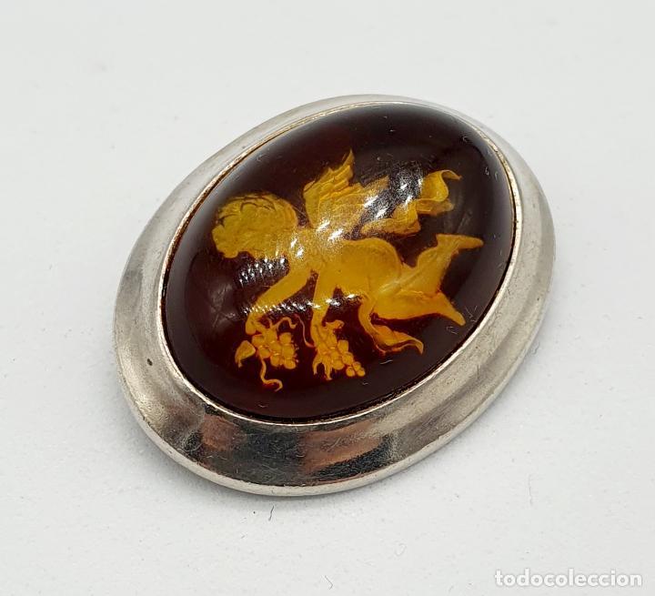 Joyeria: Bellísimo broche antiguo art decó en plata de ley con cabujón de ámbar con querubín tallado . - Foto 2 - 240929310