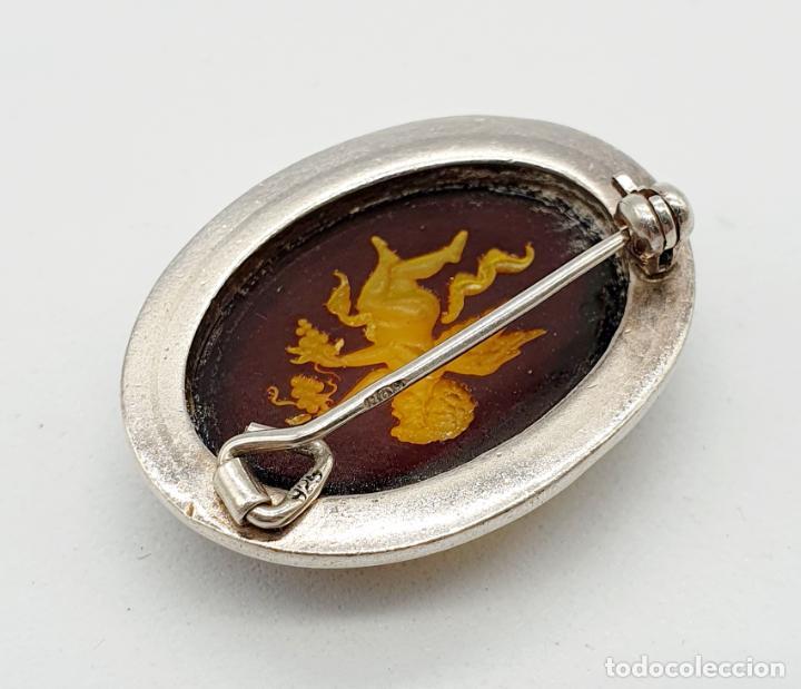 Joyeria: Bellísimo broche antiguo art decó en plata de ley con cabujón de ámbar con querubín tallado . - Foto 6 - 240929310
