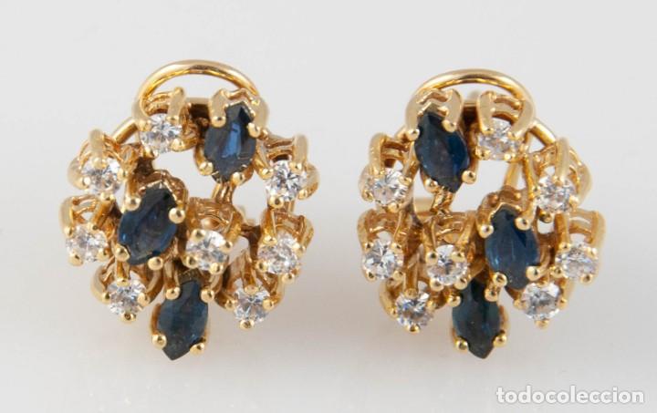 Joyeria: Pendientes en oro 18k con zafiros y brillantes - Foto 2 - 243858495