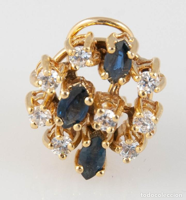 Joyeria: Pendientes en oro 18k con zafiros y brillantes - Foto 3 - 243858495