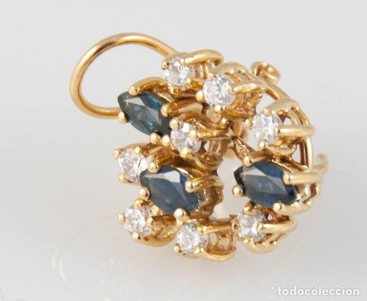 Joyeria: Pendientes en oro 18k con zafiros y brillantes - Foto 4 - 243858495