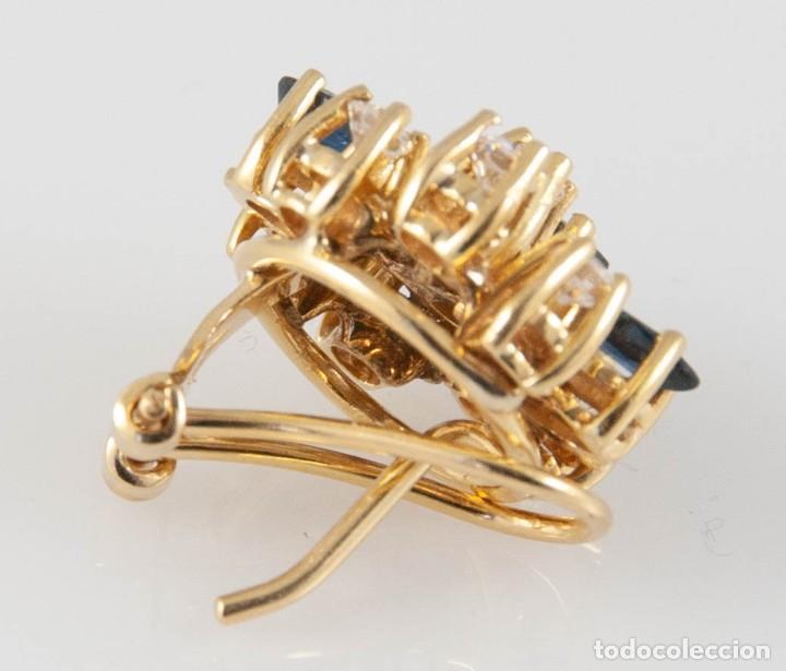 Joyeria: Pendientes en oro 18k con zafiros y brillantes - Foto 5 - 243858495