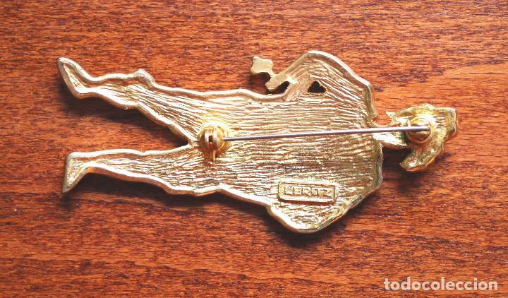 Joyeria: Precioso broche de metal chapado en oro, esmalte y circonitas, firmado Leritz (fotos adicionales) - Foto 4 - 244268260