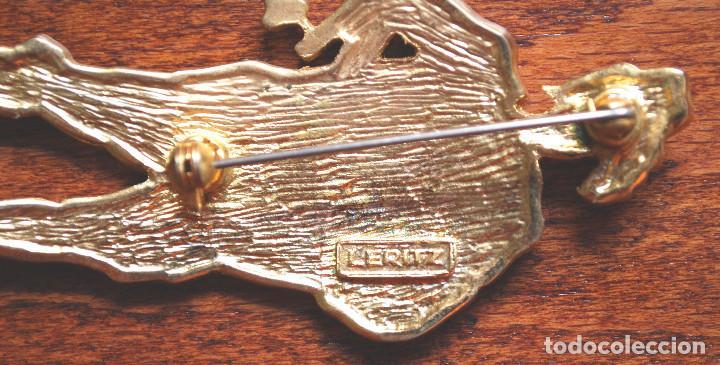 Joyeria: Precioso broche de metal chapado en oro, esmalte y circonitas, firmado Leritz (fotos adicionales) - Foto 6 - 244268260
