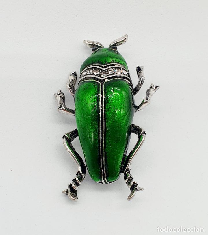 Joyeria: Elegante broche de insecto estilo art decó con baño de plata, esmaltes al fuego y circonitas . - Foto 3 - 244885765