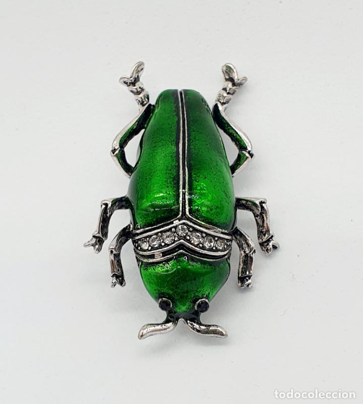 Joyeria: Elegante broche de insecto estilo art decó con baño de plata, esmaltes al fuego y circonitas . - Foto 5 - 244885765