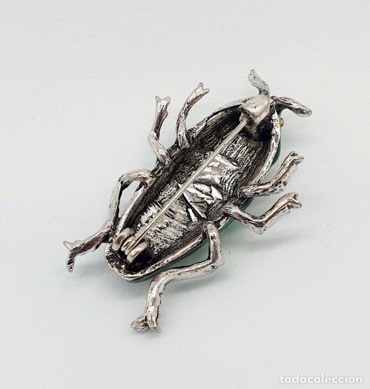 Joyeria: Elegante broche de insecto estilo art decó con baño de plata, esmaltes al fuego y circonitas . - Foto 6 - 244885765