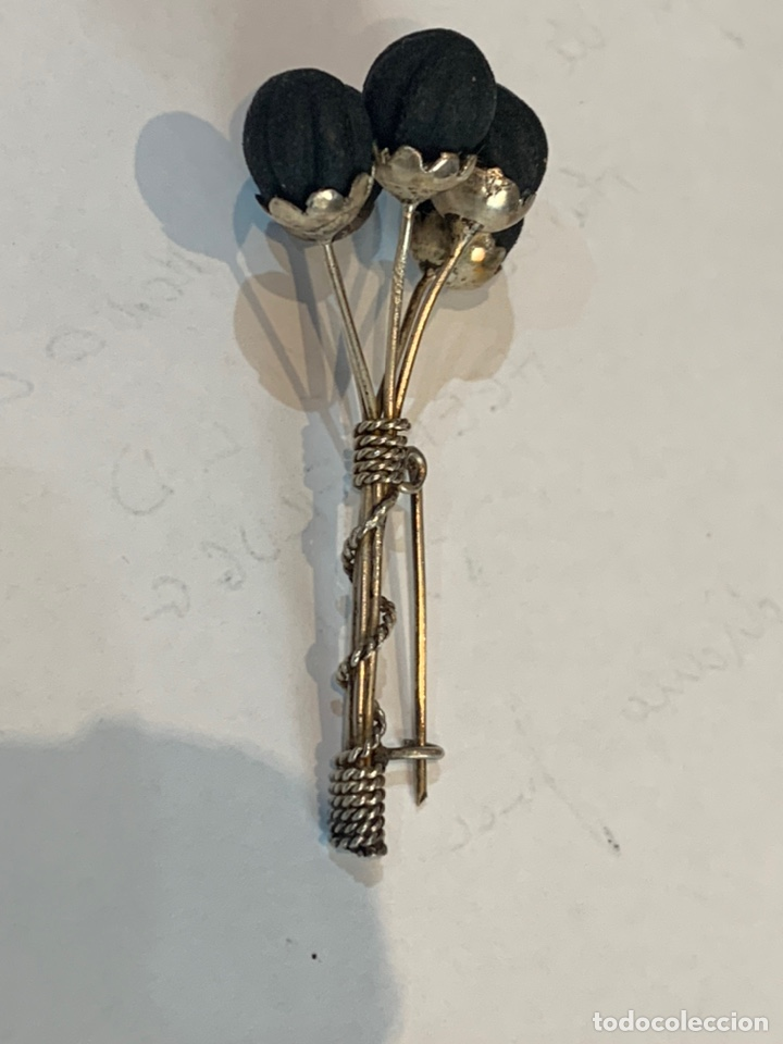 Joyeria: Broche plata, con 5 semillas negras (desconozco) - Foto 2 - 245788580