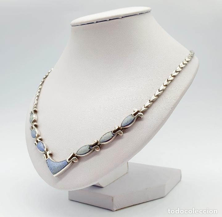 Joyeria: Bella gargantilla antigua en eslabones de plata de ley contrastada y piedras azul celeste incrustada - Foto 2 - 246294490