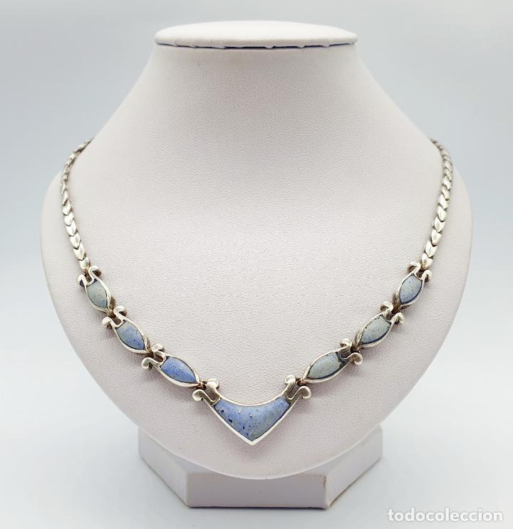 Joyeria: Bella gargantilla antigua en eslabones de plata de ley contrastada y piedras azul celeste incrustada - Foto 3 - 246294490