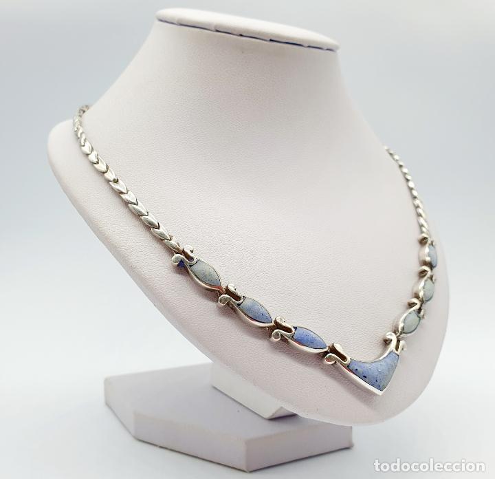 Joyeria: Bella gargantilla antigua en eslabones de plata de ley contrastada y piedras azul celeste incrustada - Foto 4 - 246294490