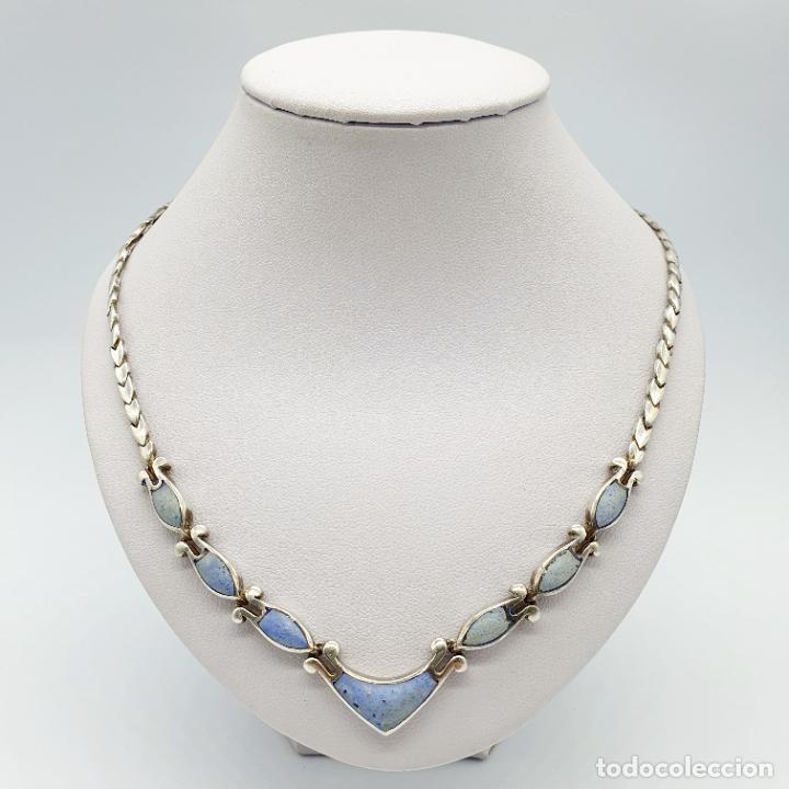 Joyeria: Bella gargantilla antigua en eslabones de plata de ley contrastada y piedras azul celeste incrustada - Foto 5 - 246294490