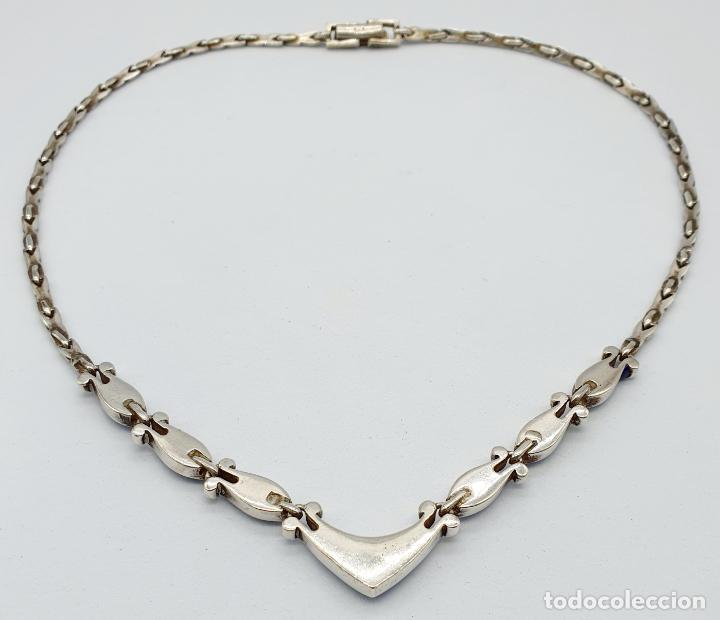 Joyeria: Bella gargantilla antigua en eslabones de plata de ley contrastada y piedras azul celeste incrustada - Foto 6 - 246294490