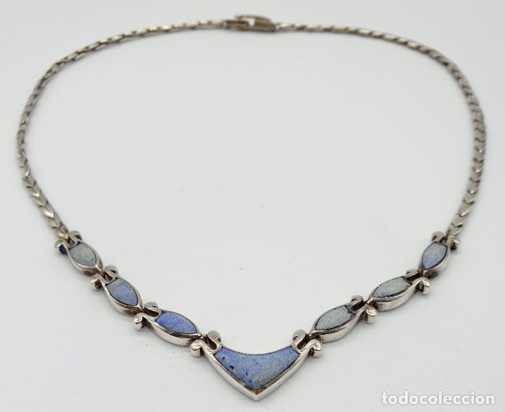 Joyeria: Bella gargantilla antigua en eslabones de plata de ley contrastada y piedras azul celeste incrustada - Foto 7 - 246294490