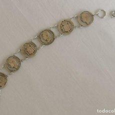 Joyeria: PULSERA PLATA MONEDAS ALFONSO XII Y XIII. Lote 247499175
