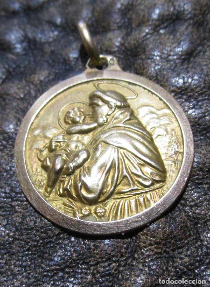 Joyeria: medalla colgante de oro san antonio de padua con niño 3,9 gramos 2,2 cm diametro - Foto 2 - 247590225