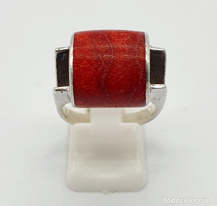 Joyeria: Anillo vintage de diseño en plata de ley contrastada y cabujón de coral auténtico . - Foto 4 - 247604185