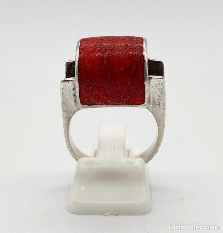 Joyeria: Anillo vintage de diseño en plata de ley contrastada y cabujón de coral auténtico . - Foto 5 - 247604185