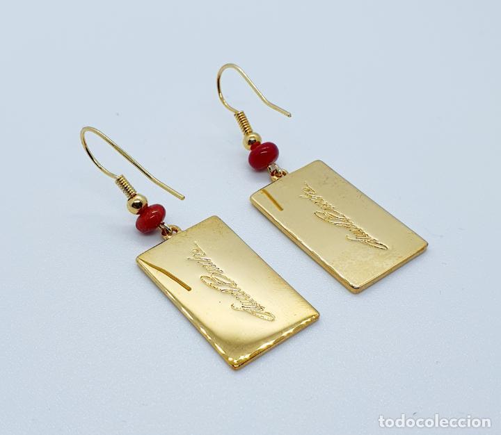 Joyeria: Pendientes de estilo Coreano chapado en oro de 18k decorado con esmaltes, firmados . - Foto 2 - 249187510