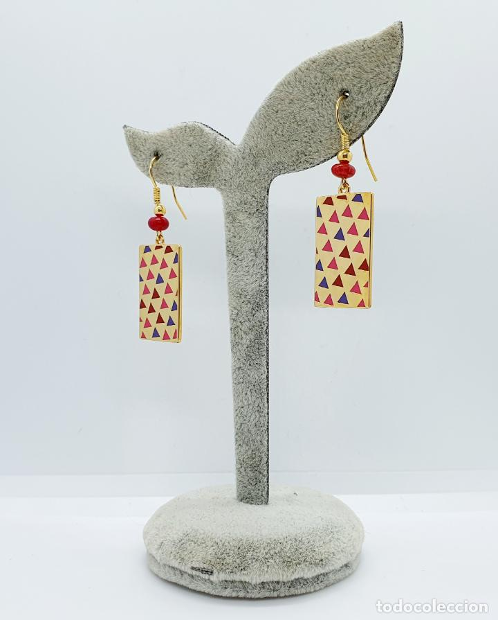 Joyeria: Pendientes de estilo Coreano chapado en oro de 18k decorado con esmaltes, firmados . - Foto 4 - 249187510