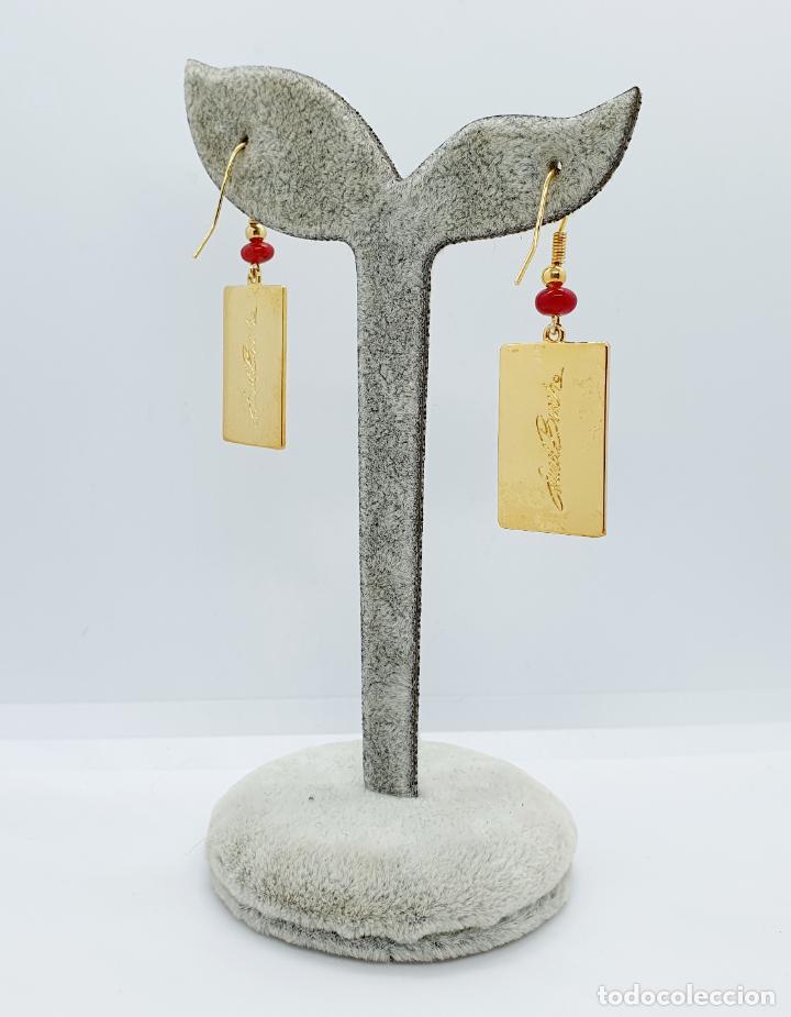 Joyeria: Pendientes de estilo Coreano chapado en oro de 18k decorado con esmaltes, firmados . - Foto 5 - 249187510