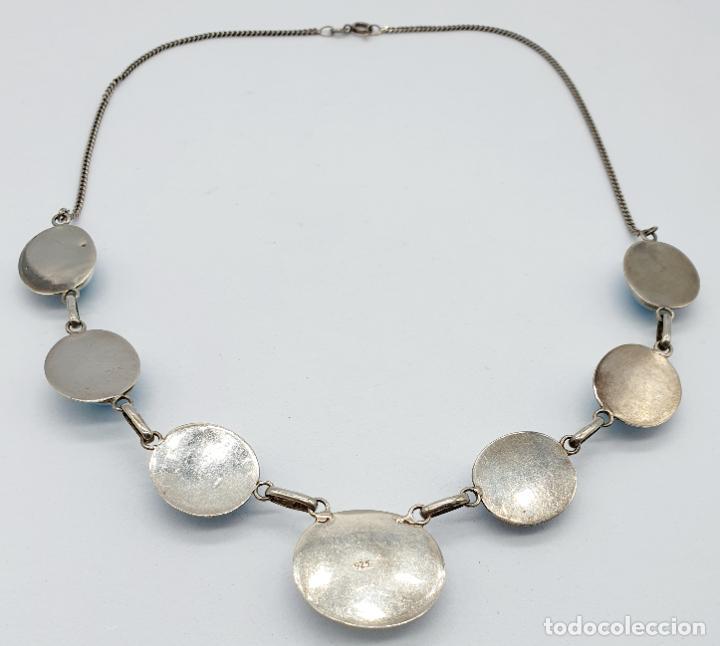 Joyeria: Preciosa gargantilla antigua en plata de ley contrastada y cabujones de piedra larimar auténtica . - Foto 6 - 250162330