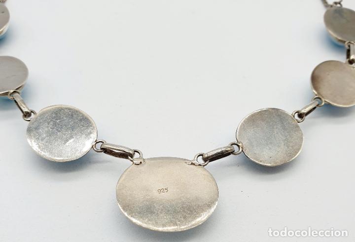 Joyeria: Preciosa gargantilla antigua en plata de ley contrastada y cabujones de piedra larimar auténtica . - Foto 8 - 250162330