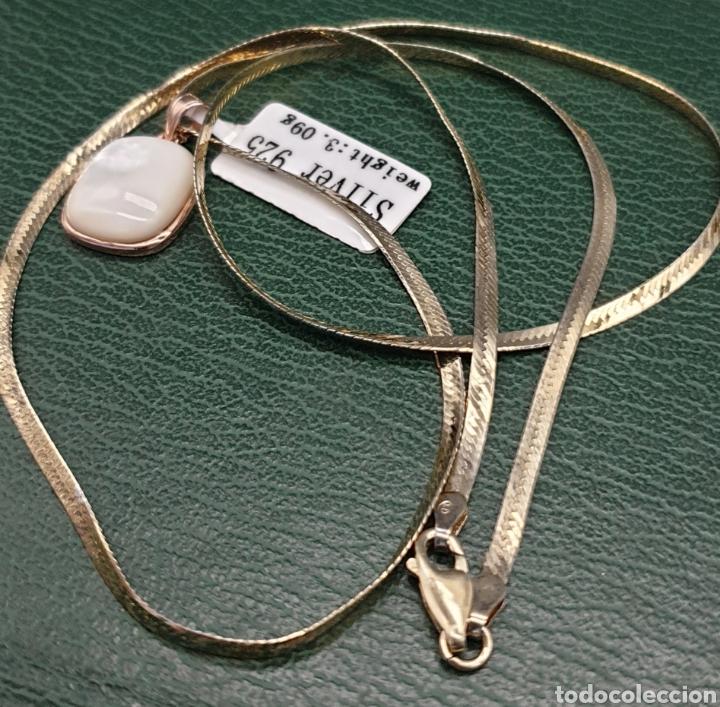 Joyeria: Collar plano y colgante plata chapado en oro rosa. - Foto 2 - 251195920