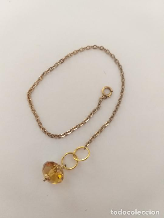 Joyeria: Pulsera. Cadena dorada. Piedra color amarillo. 18 cm - Foto 2 - 252056350