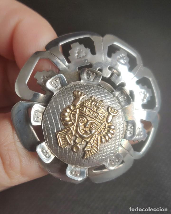Joyeria: Colgante antiguo y broche Díos Azteca Viracocha oro 18 kt y plata estelina. - Foto 15 - 252401590