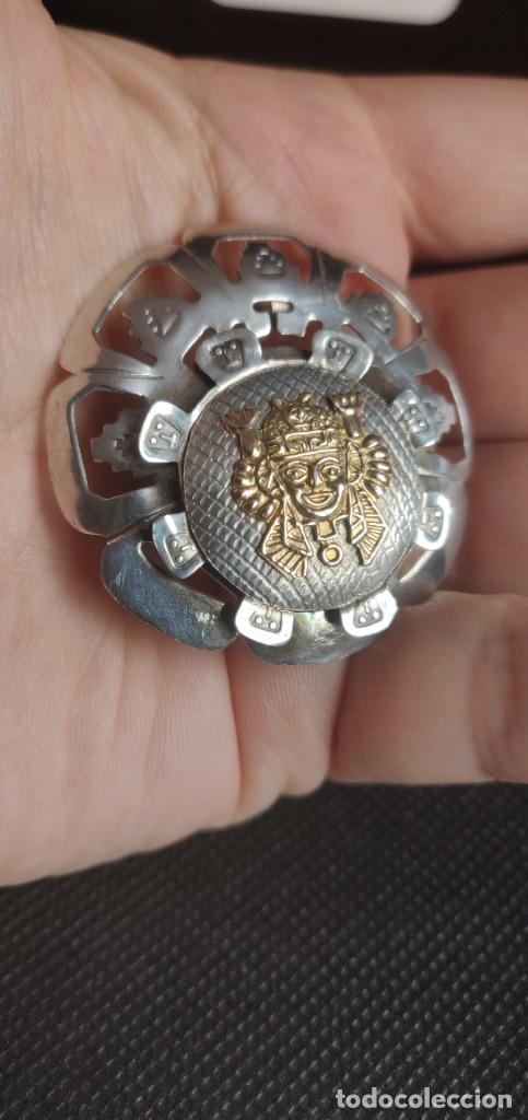 Joyeria: Colgante antiguo y broche Díos Azteca Viracocha oro 18 kt y plata estelina. - Foto 16 - 252401590