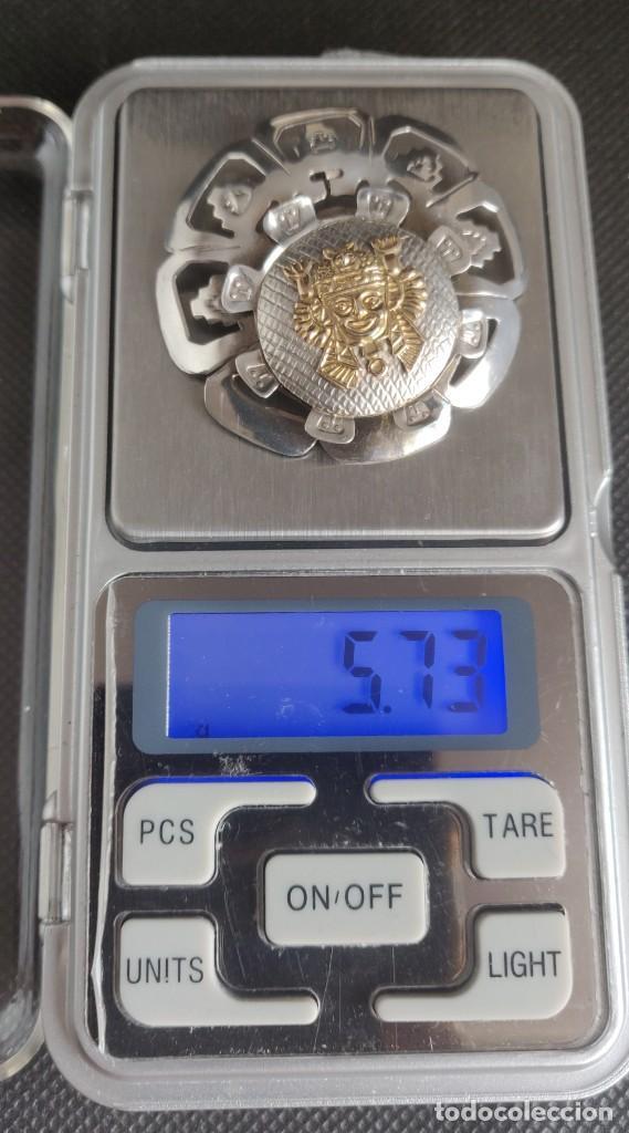 Joyeria: Colgante antiguo y broche Díos Azteca Viracocha oro 18 kt y plata estelina. - Foto 19 - 252401590