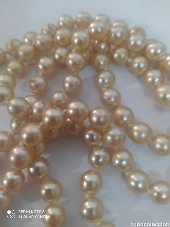 Joyeria: Elegantisimo collar de perlas de imitación algunas con señales del tiempo crema de un metro - Foto 2 - 253300490