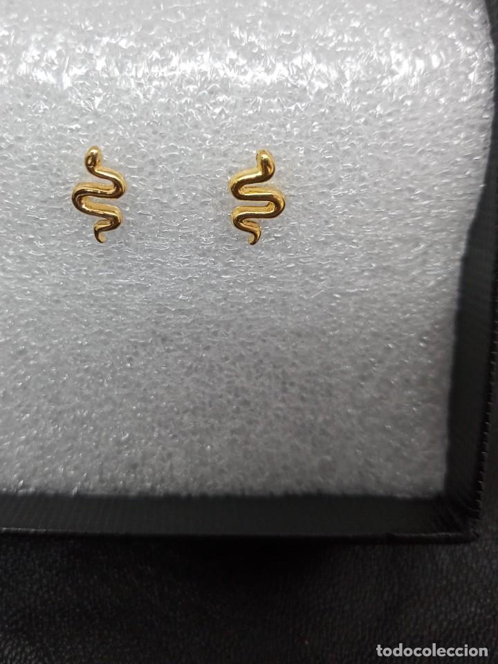 Joyeria: Pendientes con diseño de serpientes de plata primera ley 925 contrastada chapada en oro. - Foto 4 - 253541825
