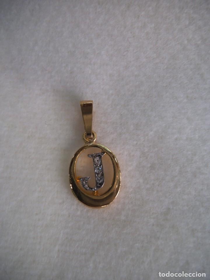 COLGANTE ( INICIAL - J - ) CHAPADO PIEDRAS (Joyería - Colgantes Antiguos)