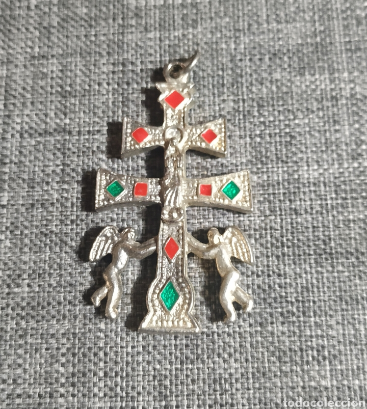 CRUZ DE CARAVACA GRANDE DE ALPACA (Joyería - Colgantes Antiguos)