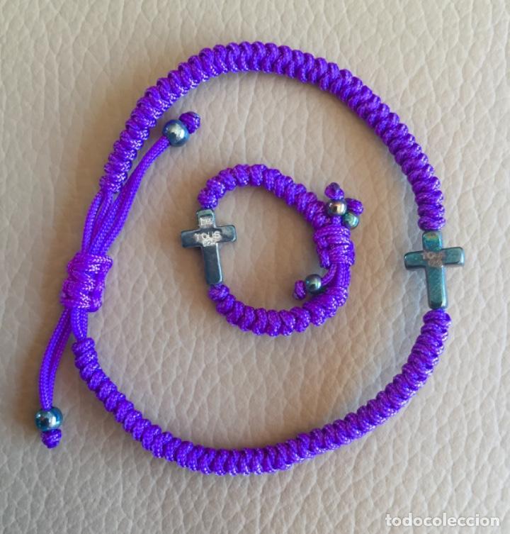 Joyeria: Pulsera Azul Trenzada y Anillo TOUS con Cruz Crucecita en Plata 925 - Foto 2 - 249114850