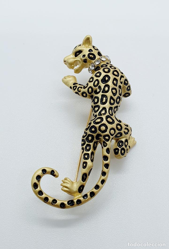 Joyeria: Elegante broche de lujo, pantera con acabado en oro mate, esmalte y circonitas talla brillante . - Foto 3 - 254856610