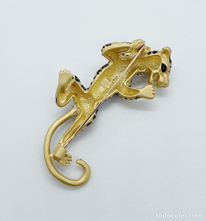 Joyeria: Elegante broche de lujo, pantera con acabado en oro mate, esmalte y circonitas talla brillante . - Foto 5 - 254856610