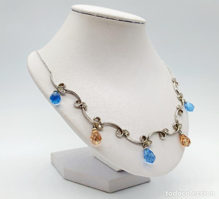 Joyeria: Elegante gargantilla vintage en plata de ley, circonitas y topacios creados talla briolette . - Foto 4 - 260578595