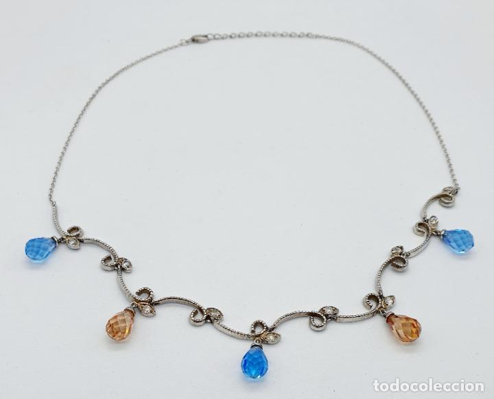 Joyeria: Elegante gargantilla vintage en plata de ley, circonitas y topacios creados talla briolette . - Foto 5 - 260578595