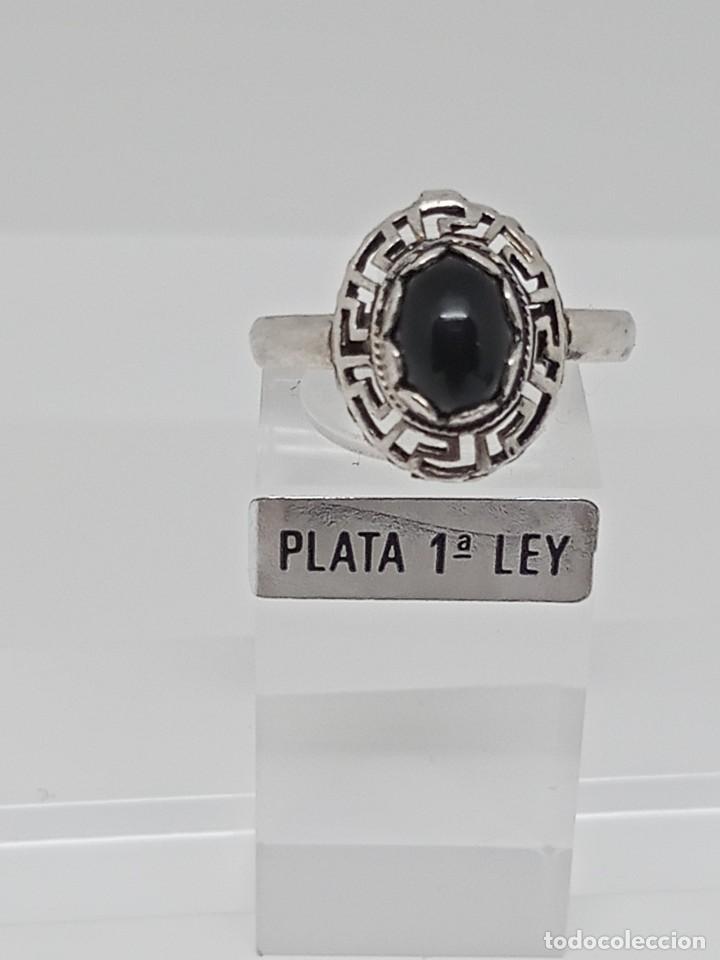 Joyeria: Antiguo anillo de plata de ley 925 con ónix - Foto 2 - 262540060