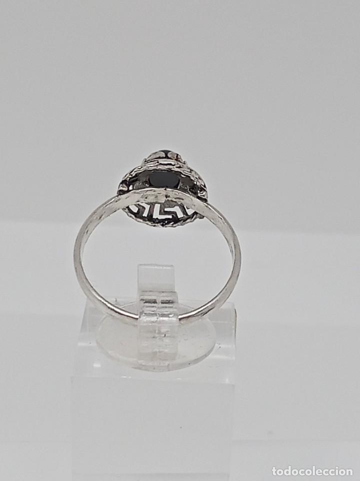 Joyeria: Antiguo anillo de plata de ley 925 con ónix - Foto 3 - 262540060
